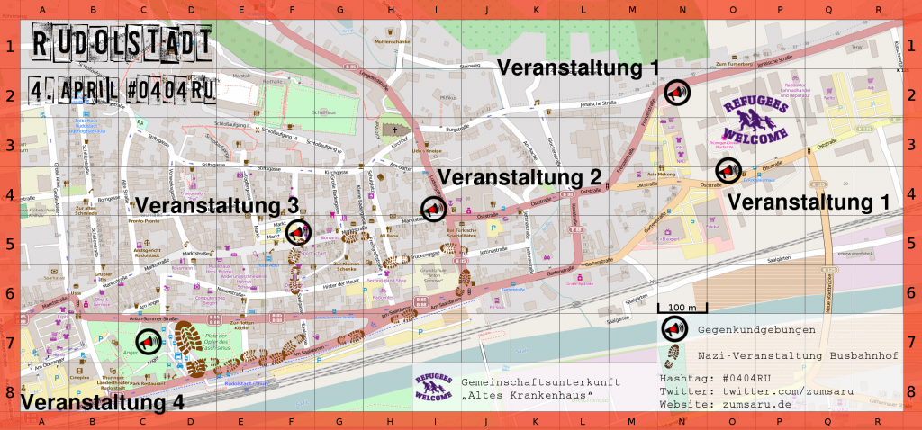 "Busbahnhof - Bundesstraße ""Am Saaldamm"" - Ludwigstraße - Brückengasse - Freiligrathstraße - Marktstraße - Markt - Saalgasse - Am Saaldamm - Busbahnhof"