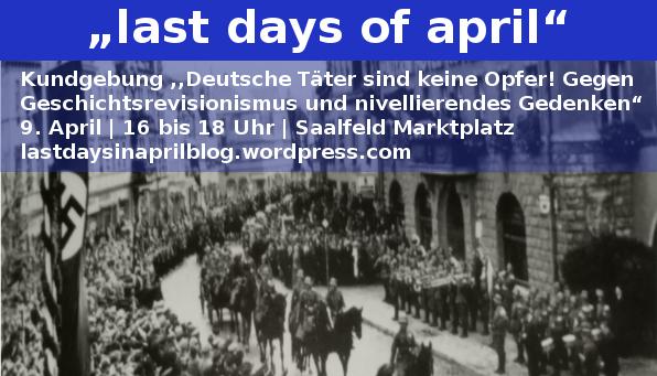 Aufruf Kundgebung 9. April 2016 16 Uhr Saalfeld Marktplatz